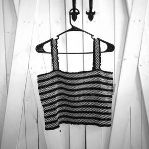 black and white mesh crop top